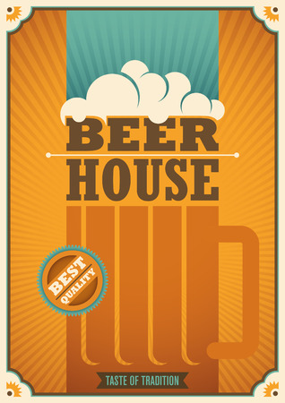 beer house: Beer house poster with retro design. Illustration