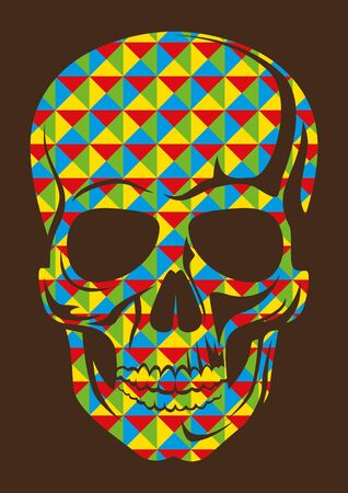 composed: Geometric abstraction with skull. Illustration