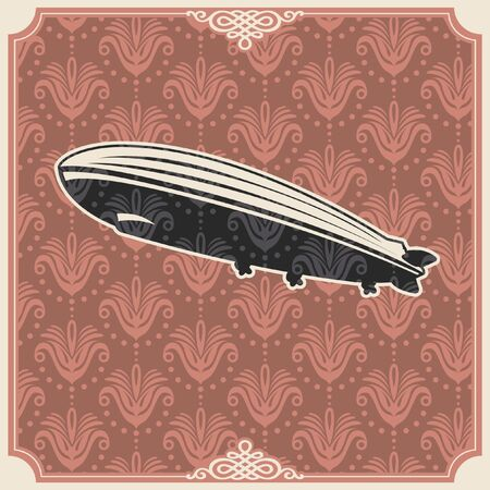 dingbats: Vintage background with zeppelin. Illustration