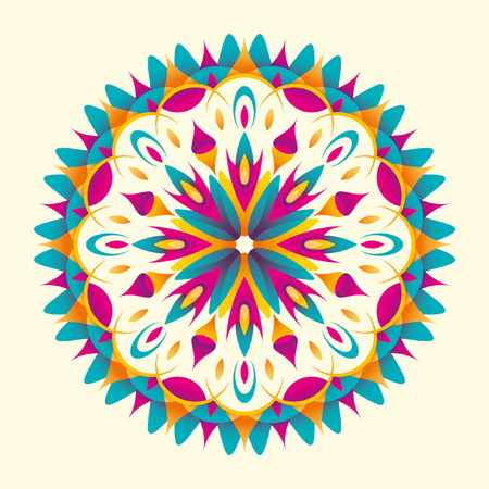 illustrated: Illustrated modish arabesque with colorful shapes. Illustration