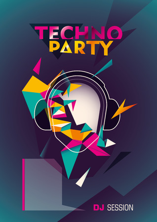 modish: Techno party poster with abstraction.