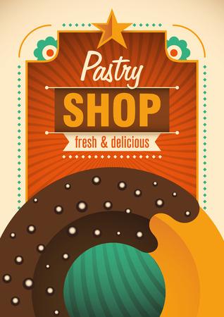 tasteful: Retro pastry shop poster.