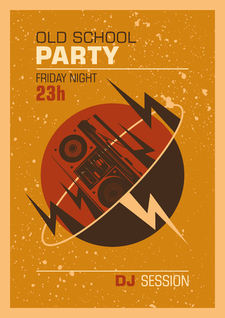 disk jockey: Old school party poster design.