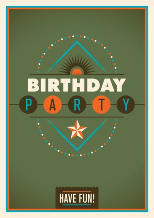 birthday party: Retro birthday party poster. Illustration