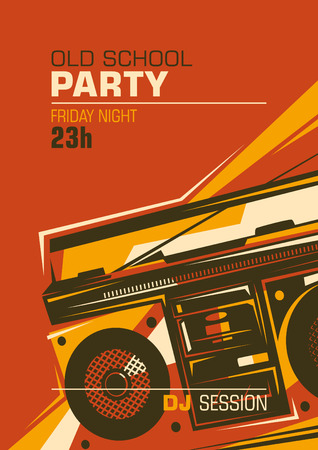 ghetto blaster: Retro party poster with ghetto blaster.