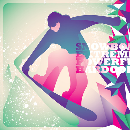 cliff edge: Illustrated snowboarding background. Illustration