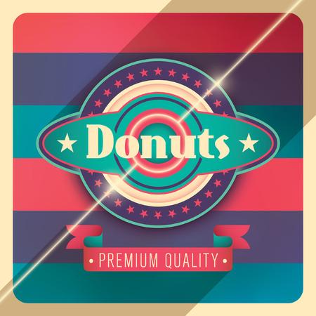 modish: Donuts label design in color.