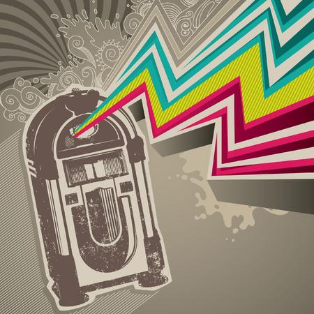 rockabilly: Designed retro banner with jukebox.