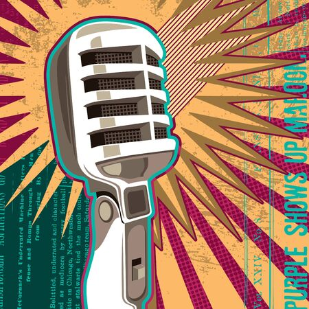 retro microphone: Retro microphone with abstract elements.