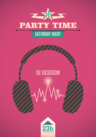 party time: Party time poster. Illustration