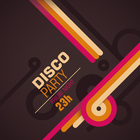 retro disco: Retro disco party invitation card.