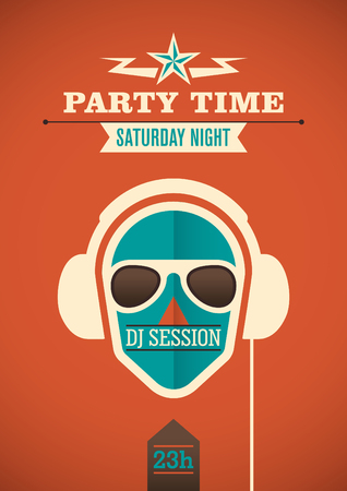 party time: Modern party time poster. Illustration