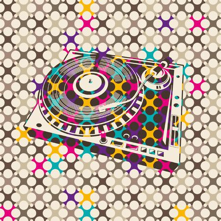 turntable: Colorful background with turntable.