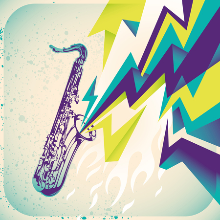 modish: Modish illustration with saxophone.