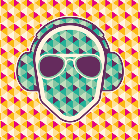 Party background with headphones. Illustration