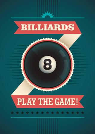 pool player: Billiards poster design. Illustration