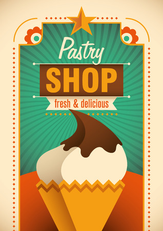 pastry shop: Colorful pastry shop poster.