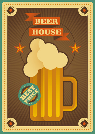 beer house: Retro beer house poster. Illustration