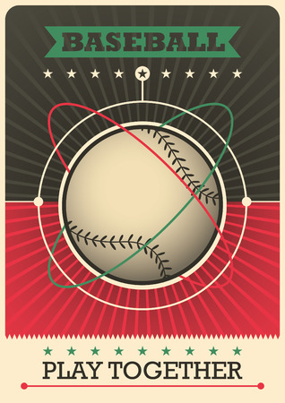 outfield: Retro baseball poster design.