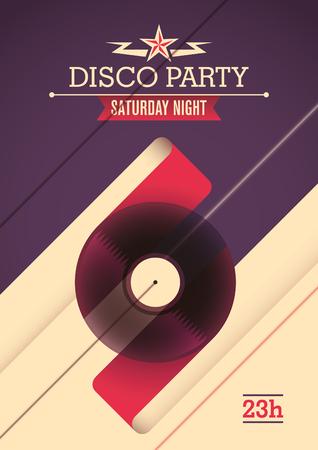saturday night: Disco party poster design.