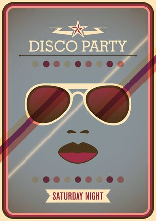 Disco party poster with sunglasses.