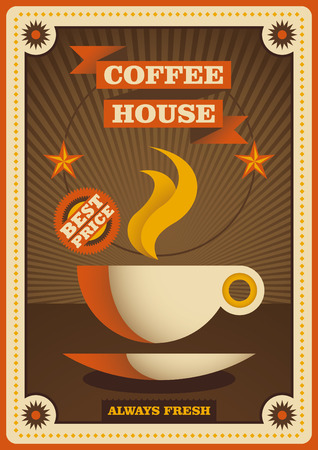coffee house: Retro coffee house poster. Illustration