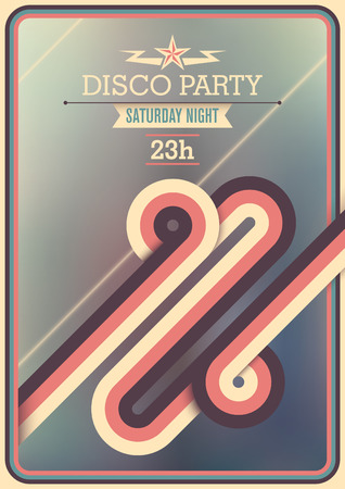saturday night: Retro disco party poster with abstraction.