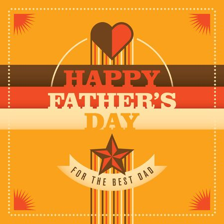 fatherhood: Colorful Illustration of fathers day card. Illustration