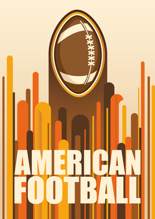 american football ball: Colorful american football poster. Illustration