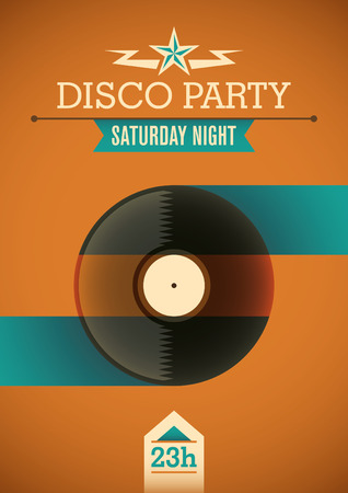 disk jockey: Disco poster with retro design.
