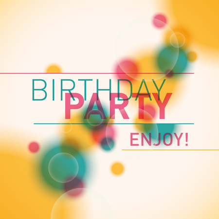 birthday party: Colorful birthday party invitation card.