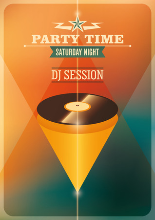 party time: Modern party time poster with vinyl.