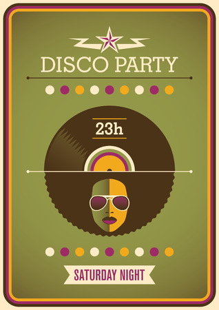 retro disco: Retro disco party poster design. Illustration