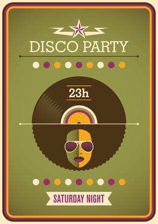 Retro disco party poster design. Illustration