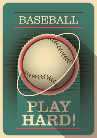 outfield: Baseball poster with retro design.