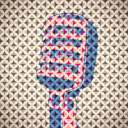 retro microphone: Background with retro microphone. Illustration