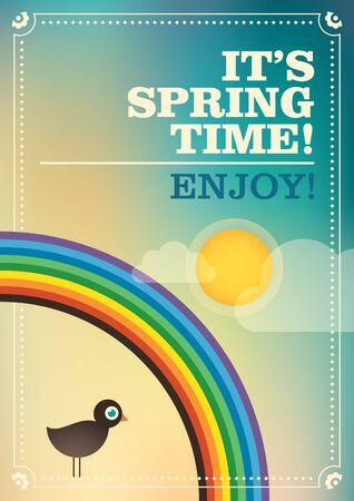 colrful: Spring retro poster.