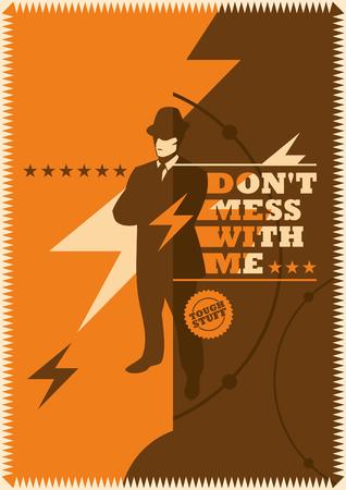mobster: Retro poster with mobster. Illustration