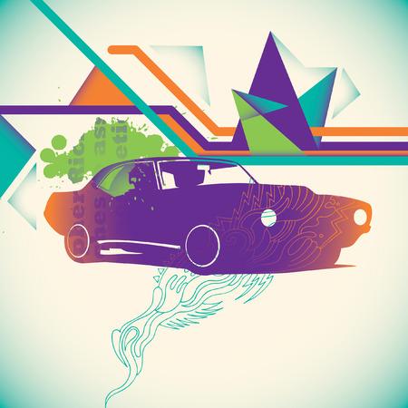 silhouette voiture: fond coloré avec des éléments abstraits.