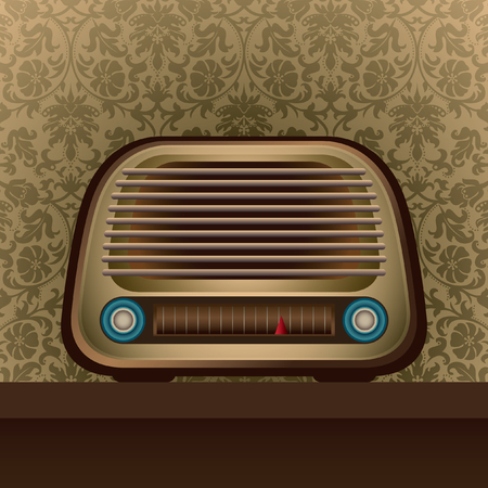 old radio: Illustrated old radio with floral background. Illustration