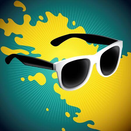 Illustrated retro sunglasses with splash.