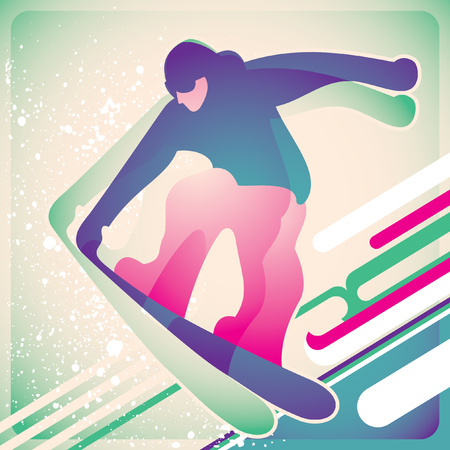 cliff edge: Illustrated snowboarding poster. Illustration
