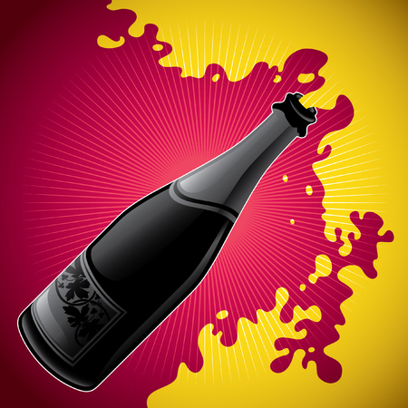 popping cork: Stylized illustration of champagne bottle.