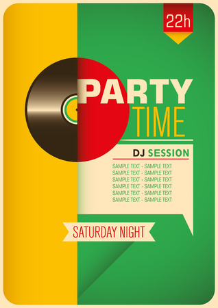 party time: Colorful party time poster design.