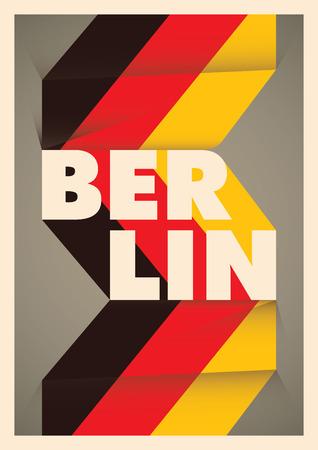 Geïllustreerd poster Berlijn met typografie. Stock Illustratie