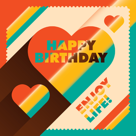 artisitc: Illustrated birthday card in color.