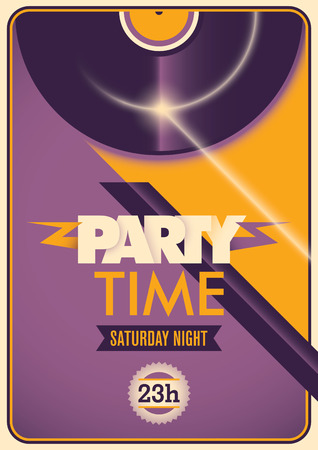 party time: Illustrated colorful party time poster.