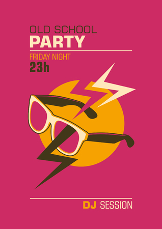 disk jockey: Party poster design with sunglasses. Illustration