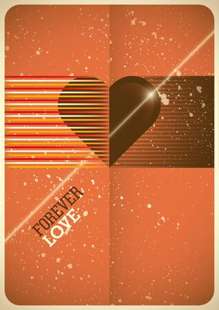 background cover: Love poster with retro design.