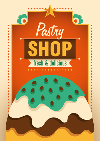 pastry shop: Pastry shop poster. Illustration